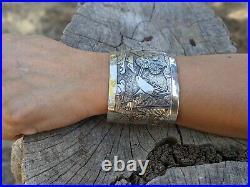 Vintage Navajo Story Teller Cuff Bracelet Sterling Silver Signed Native Jewelry