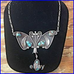 Vintage Navajo Style Sterling Turquoise Butterfly Necklace, 62 Grams