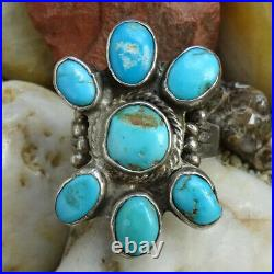 Vintage Navajo Turquoise Cluster Ring Size 8 1/2 Handmade Sterling Silver NA