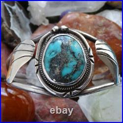 Vintage Navajo Turquoise Cuff Bracelet Pyrite Quartz Inclusions Sterling Silver
