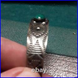 Vintage Navajo Turquoise Sterling Silver Bracelet Marked Louise