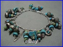 Vintage Navajo Turquoise Sterling Silver Native American Charm Bracelet Old
