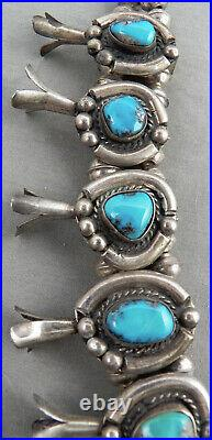 Vintage Navajo Turquoise & Sterling Silver Squash Blossom Necklace
