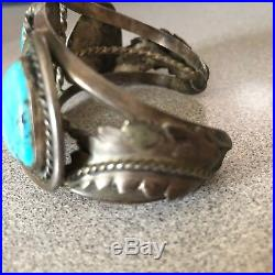 Vintage Navajo Turquoise and Silver Men's Cuff