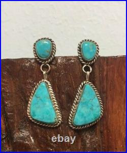 Vintage Navajo Two Stone Turquoise Rope Style Earrings Sterling925 Marked CJ