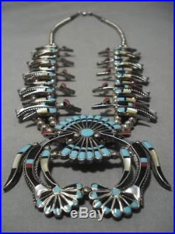 Vintage Navajo Zuni Turquoise Inlay Sterling Silver Squash Blossom Necklace Old