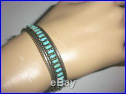 Vintage Navajo old pawn Sterling Silver turquoise petit point bracelet