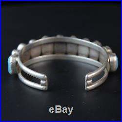 Vintage Navajo old pawn cuff nugget row Turquoise Sterling Silver. 925 bracelet