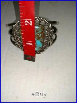Vintage Navajo old pawn sterling silver cuff bracelet large turquoise