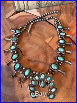 Vintage Navajo sterling silver and turquoise squash blossom necklace 32