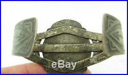 Vintage OLD PAWN Navajo Royston Turquoise Stamped Arrows Sterling Cuff Bracelet