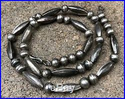 Vintage OLD PAWN Navajo Sterling Silver Pearl Bench Bead Necklace 21