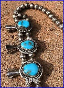 Vintage Old Navajo Sterling Silver Bisbee Turquoise Squash Blossom Necklace 24