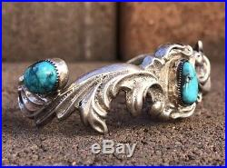 Vintage Old Navajo Sterling Silver Carico Lake Turquoise Sand Cast Cuff Bracelet
