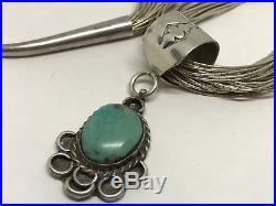 Vintage Old Navajo Sterling Turquoise Slide Pendant Liquid Silver 24 Necklace