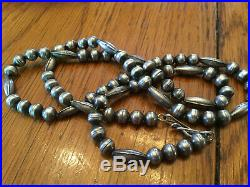 Vintage Old Pawn 26 LONG Sterling Silver NAVAJO BENCH & MELON BEAD Necklace