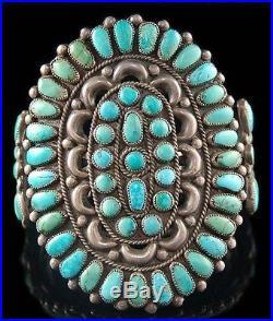 Vintage Old Pawn LRG Sterling Silver Turquoise Cluster Bracelet s6.25 c40s/50s