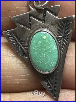 Vintage Old Pawn NAVAJO Arrowhead Turquoise Sterling Handmade Pendant & Necklace