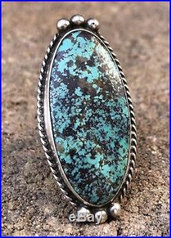 Vintage Old Pawn Native American GEM Kingman Turquoise Sterling Silver Long Ring