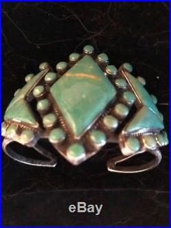 Vintage Old Pawn Native American Indian Kingman Turquoise Cuff Bracelet RARE