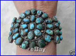 Vintage Old Pawn Native American Indian Navajo Turquoise Silver Cuff Bracelet