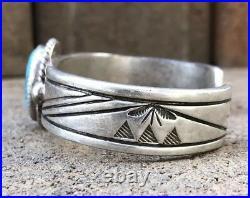 Vintage Old Pawn Native American Navajo Kingman Turquoise Silver Cuff Bracelet