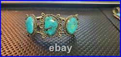 Vintage Old Pawn Native American Navajo Sterling Silver Turquoise Cuff (Nat004)