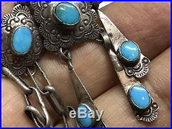 Vintage Old Pawn Native Turquoise Sterling Handmade Ornate Pendant & Necklace