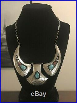 Vintage Old Pawn Navajo CS Sterling Silver Turquoise & Coral Panel Necklace 925
