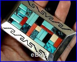 Vintage Old Pawn Navajo Cobblestone YELLOWHORSE Turquoise HUGE Pendant Enhancer