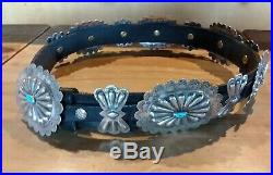 Vintage Old Pawn Navajo Concho Belt Sterling Silver Turquoise