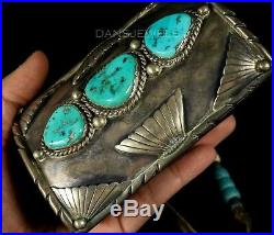 Vintage Old Pawn Navajo Forged Natural Turquoise Sterling Bow Guard Bracelet