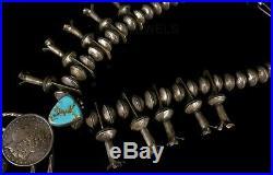 Vintage Old Pawn Navajo Handmade STERLING MERCURY Dime Squash Blossom Necklace