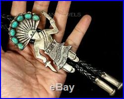 Vintage Old Pawn Navajo Martha Cayatineto Turquoise Kachina Sterling Bolo Tie