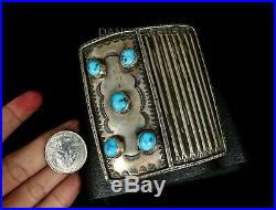 Vintage Old Pawn Navajo Natural Turquoise Forged Sterling Bow Guard Bracelet