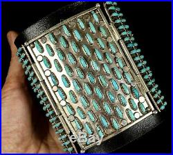 Vintage Old Pawn Navajo Needlepoint Turquoise Lavell Byjoe Sterling Bow Guard