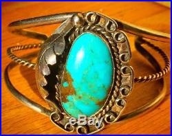 Vintage Old Pawn Navajo Ornate Royston Turquoise Carved Cuff Bracelet