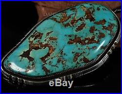 Vintage Old Pawn Navajo SLAB of 402 Carats Turquoise STERLING Bolo Tie Johnson