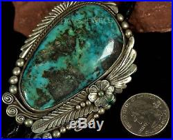 Vintage Old Pawn Navajo SLAB of Green Blue Morenci Turquoise STERLING Bolo Tie