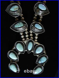 Vintage Old Pawn Navajo Silver Turquoise Squash Blossom Necklace Unmarked