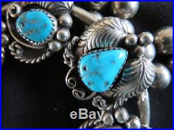 Vintage Old Pawn Navajo Squash Blossom Necklace Silver & Turquoise