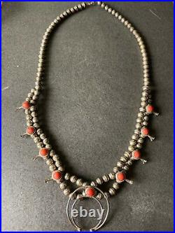 Vintage Old Pawn Navajo Sterling Old Coral Squash Blossom Necklace