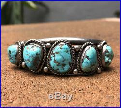Vintage Old Pawn Navajo Sterling Silver Blue Kingman Turquoise Cuff Bracelet