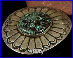 Vintage Old Pawn Navajo Sterling Silver Spiderweb Turquoise Bolo Tie Scarf Slide