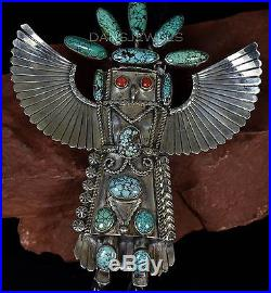 Vintage Old Pawn Navajo TURQUOISE KACHINA 3D HUGE Sterling BOLO TIE