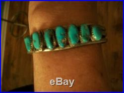 Vintage Old Pawn Navajo Unsigned Seven 7 Kingman Turquoise Stone Cuff Bracelet