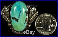 Vintage Old Pawn RARE SHATKA BEAR STEP Sterling Silver Boulder Turquoise Ring