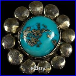 Vintage Old Pawn RARE Sterling Silver SHATKA BEAR STEP Morenci Turquoise Ring