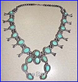 Vintage Old Pawn SQUASH BLOSSOM NECKLACE Turquoise & STERLING SIlver 236 Grams