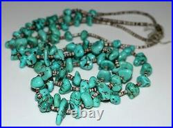 Vintage Old Pawn Santo Domingo Double Strand Turquoise Nugget Necklace, Heishi